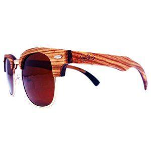 Ebony and ZebraWood Framed Sunglasses, Polarized